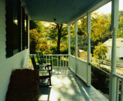 Front porch of the Dauphine in  early fall.